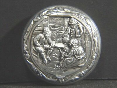 Vintage Dutch 830 Sterling Silver Hinged Scenic Pill BOX Sgd HH
