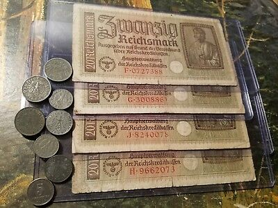 NAZI GERMANY OLD RARE BANKNOTES - 13pc LOT - Vintage WWII Money Collection!!!