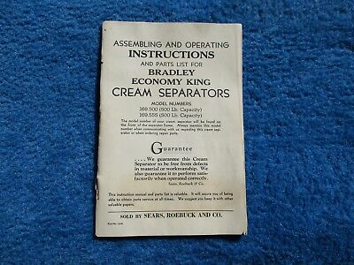 Sears Roebuck Bradley Economy King Cream Separator Assembly & Operating Manual
