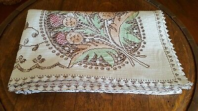Vintage English Ecru Lace Tablecloth Rectangular 1950's Scotch Thistle Design