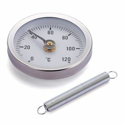 1x Pipe Clip-on Dial Thermometer Temperature Gauge w/ Spring 63mm 0-120℃ New HQ