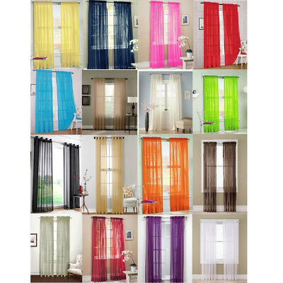 Coloful Floral Tulle Voile Door Window Curtain Drape Panel Sheer Scarf Divider E