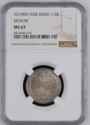 India Mewar 1/2 Rupee VS1985(1985) NGC MS63 scare coin in this grade