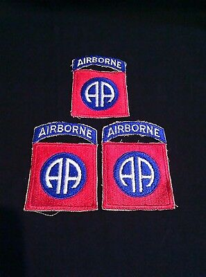 Lot of 3 US Military 82nd Airborne Patches*WWII*