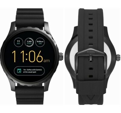Fossil Q Marshal Gen 2 Smartwatch 45mm Stainless Steel - Black Silicone -FTW2107