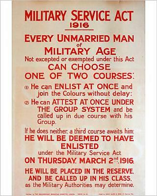 """10""""x8"""" (25x20cm) Print of WWI Poster, Military Service Act 1916"""