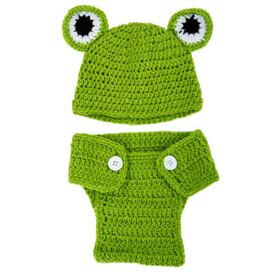 Infant Baby Costume Animal photograp Props Crochet Cloth knitted Hat Frog Q7M5