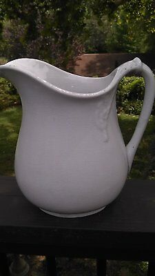 Antique White Ironstone Pitcher  9 inch tall