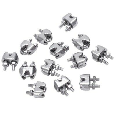 2mm 1/16 Inch Stainless Steel Wire Rope Cable Clamp Fastener 12pcs L1X5