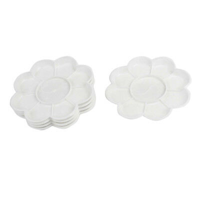 5 Pcs White Plastic Flower Shape Watercolor Paint Plate Tray Mixing Palette U5C4