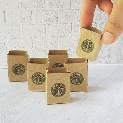 6x Handmade Shopping Bags Starbucks Store Craft Paper Dollhouse Miniature Supply