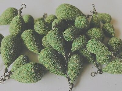 Green Slate LEAD WEIGHTS textured smooth or uncoated Sea/Carp fishing tackle.