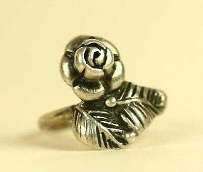 Vintage Soviet Russian Silver Floral rose ring 875 Ring