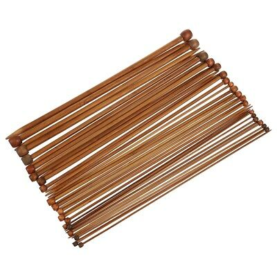 36 Single Pointed Carbonized Bamboo Knitting Needles of 18 Different Sizes B1H4
