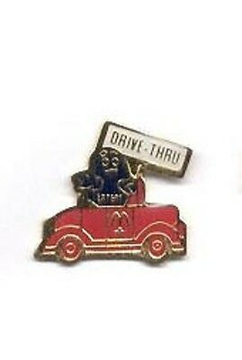 McDonalds Restaurant Lapel Pin - Grimace Character Red Car w/ Drive Thru Sign z3