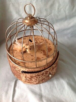 Vintage Birds In Cage Musical Wind Up Jewelry Box in need of restoration