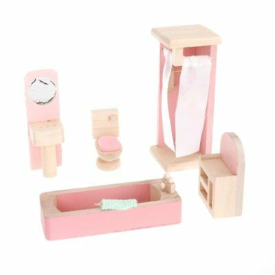 Children Wooden Doll House Furniture Kids Bathroom T6P3