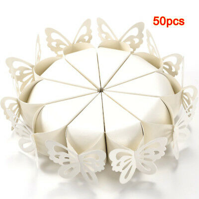 50 Pcs Butterfly Favor Gift Candy Boxes Cake Style for Wedding Baby Shower U1R3