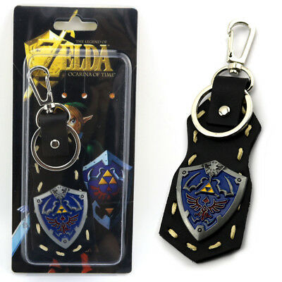 The Legend Of Zelda Anime Link Shield Leather Pendant Keychain Keyring Chian
