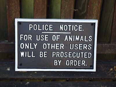 Large Train Station Sign  Police Notice Metal Plaque - Cast Iron Sign / Animals