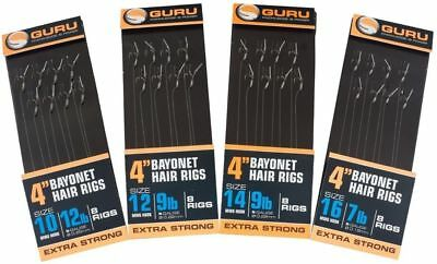 """Guru 4"""" MWG Bayonet Hair Rigs - All Sizes Available - 8 Rigs Per Pack"""