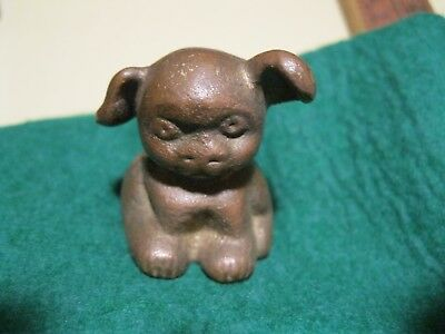Old brass or bronze not cast iron Pup Dog Paperweight Griswold or Hubley style
