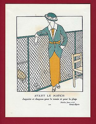 "Tennis Player Mode Fashion Outfit Tennisspiele Siebdruck  ""Gazette du Bon Ton"""