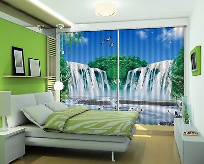 3D Waterfall Egrets 6 Blockout Photo Curtain Curtains Drapes Fabric Window CA
