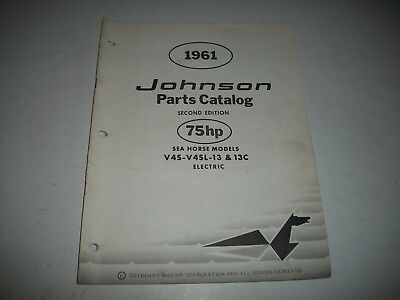 1961 Johnson V4A V4Al 13 13C 13F Sea-Horse 75 Hp Outboard Parts List Catalog