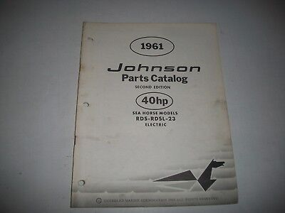 1961 Johnson Rds Rdsl 23 Electric Sea-Horse 40 Hp Outboard Parts List Catalog