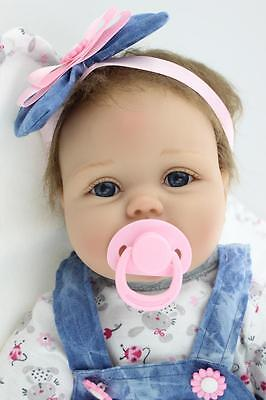 """22"""" Handmade Lifelike Reborn Silicone Vinyl Baby Girl Doll Gift With Pacifier"""