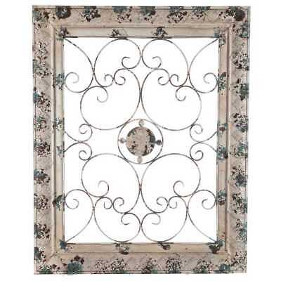 Metal Wall Decor w/ Floral Center Vintage Large Embossed Distressed Frame New