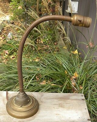 Heavy Antique Vintage Industrial Solid Brass Gooseneck Table Lamp Steampunk