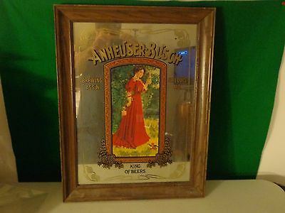 Anheuser Busch Mirror Lady In Red