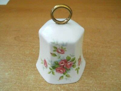 Aynsley Fine English Bone China Bell Pink Roses w/Gold Ring Handle  England