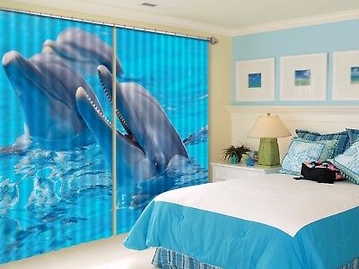 3D Two Dolphins 53 Blockout Photo Curtain Curtains Drapes Fabric Window CA Lemon