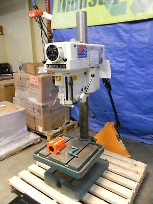 "Clausing 20"" Swing Floor Drill Press 1-1/2HP 460V 3PH Step Pulley Control DAMAGE"