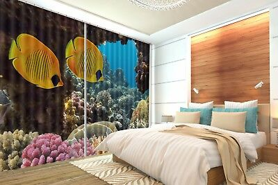 3D Golden Fish Coral 6 Blockout Photo Curtain Curtains Drapes Fabric Window CA