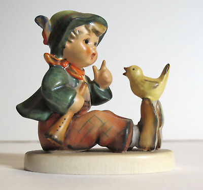 Vintage Hummel Figure No 63 - Singing Lesson,  Little Boy with Bird & Flute