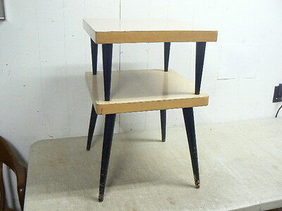 Vintage MCM Mid Century Modern 2-Tier Table Stand, Blonde & Black, 17x17x26
