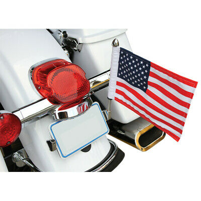 Pro Pad Polished License Plate Flag Pole Mount w/ 10x15 American USA 4 Harley