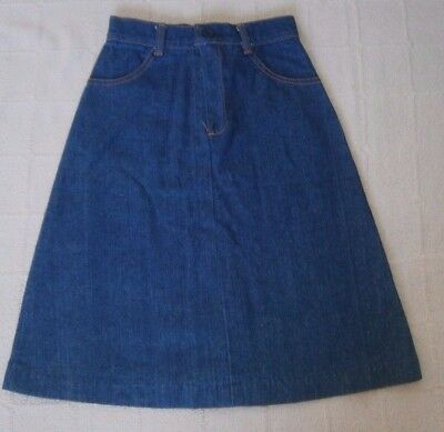 Vintage Girls Denim Skirt - Age 8 Years Approx - Navy - Zip front - New