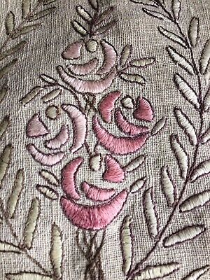 Arts and Crafts embroidered linen pillow with fringe