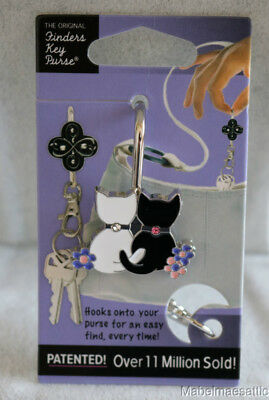 New Finders Key Purse Black & White Cat Key Holder Keyring for Purse Handbag