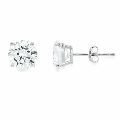 1 ct Round Cut Solitaire Stud Earrings in Solid 14k Real White Gold Push Back
