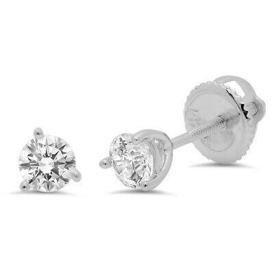 0.5 ct Round Cut 3-prong Solitaire Stud Earrings Solid 14k White Gold Screw Back