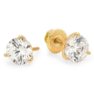 2 ct Round Cut Solitaire Stud Earrings 3-prong 14k Real Yellow Gold Screw Back