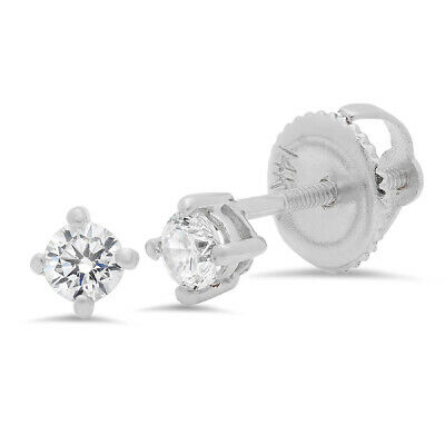 0.5 ct Round Cut Solitaire Stud Earrings in Solid 14k Real White Gold Screw Back