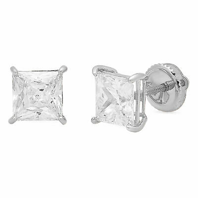 3.0 ct Princess Cut Solitaire Stud Earrings Solid 14k Real White Gold Screw Back