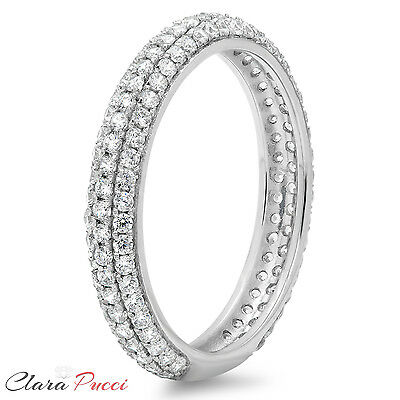 1.0 ct pave set Wedding Bridal Engagement Band Ring Solid 14kt White Gold